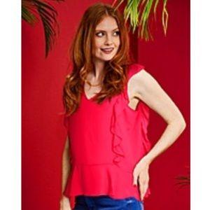 Tops - Simply Be pink ruffle peplum tank top